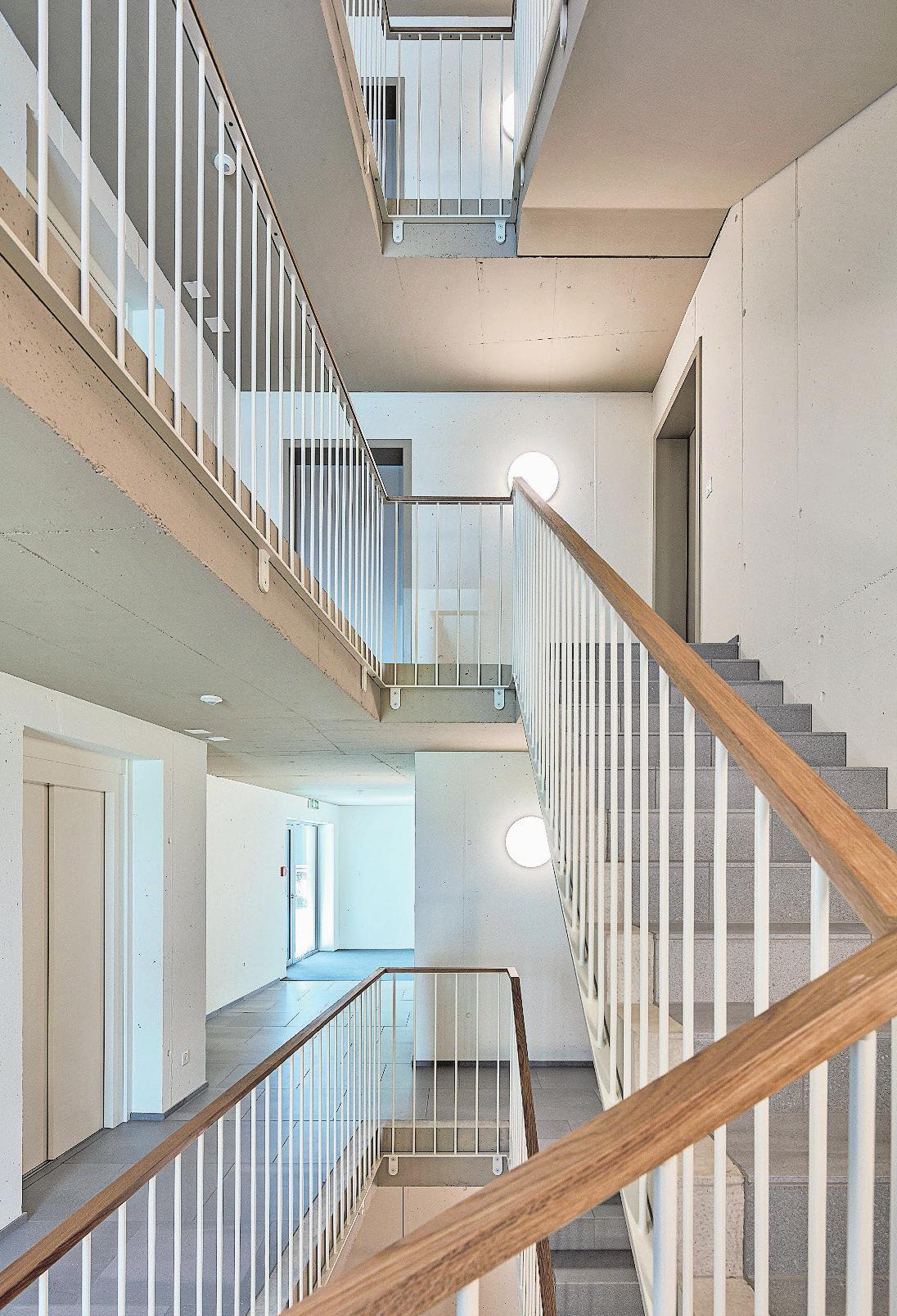 Geräumige Treppenhäuser erschliessen die Wohnungen. Bilder: PD
