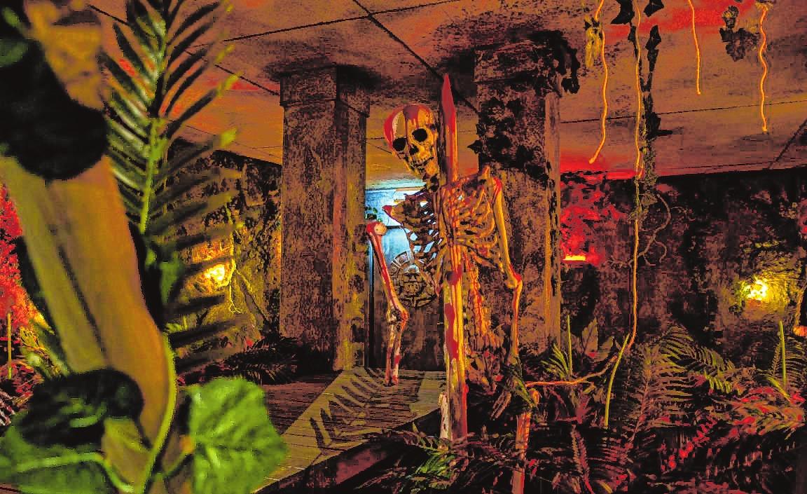 """Gruselfaktor inklusive: Einige """"Escape Rooms"""" im Funpark Bergstraße – wie hier der """"Temple of Skull"""" – sind für Zartbesaitete eher weniger geeignet.   Bild: Wuest"""