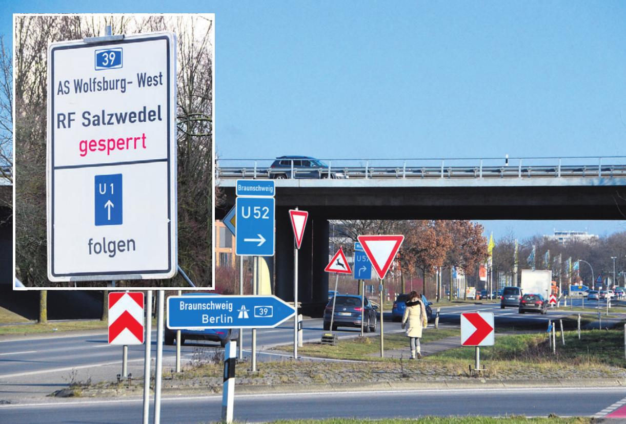 Im Zuge des Brückenabrisses an der Heinrich-Nordhoff-Straße wird die Auffahrt Wolfsburg-West gesperrt (kleines Foto: of). Archivfoto: ph