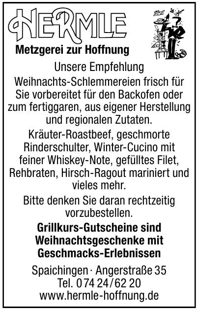 """Metzgerei und Gasthaus """"Zur Hoffnung"""" <br> Karl Hermle"""