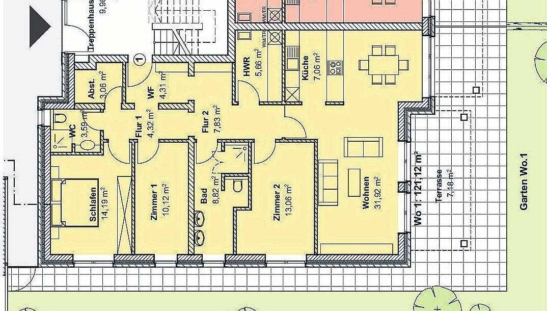 Großzügig gestaltete Wohnungen: Hier eine der beiden Wohnungen im Erdgeschoss mit großem Gartenanteil. Grafik: privat