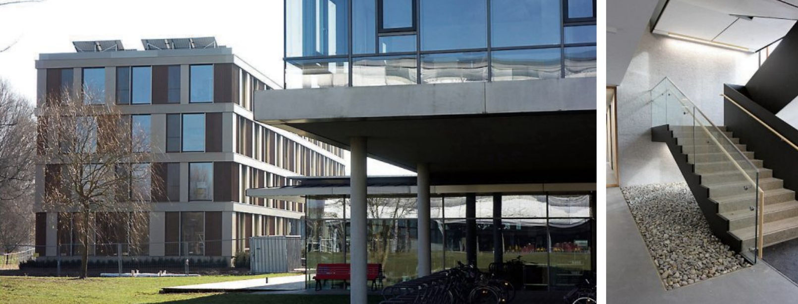 Der Erweiterungsbau ist nicht mit dem Hauptgebäude verbunden, Besucher erreichen das neue Gebäude über die Glashalle im Hauptgebäude. Fliesen, Kiesel und Terrazzo: Das Material Stein dominiert im Treppenaufgang.