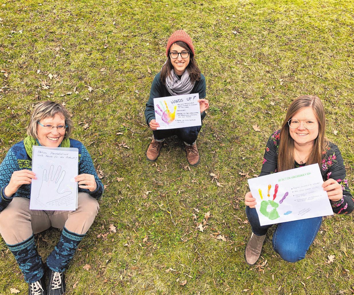Die drei Initiatorinnen: Johanna Böll (oben) Daniela Schweikhart (links) Linda Beer (rechts)