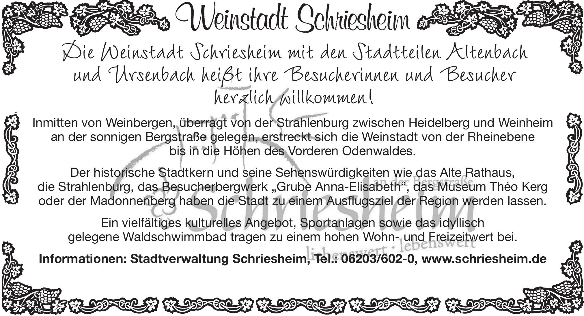 Weinstadt Schriesheim - Stadtverwaltung