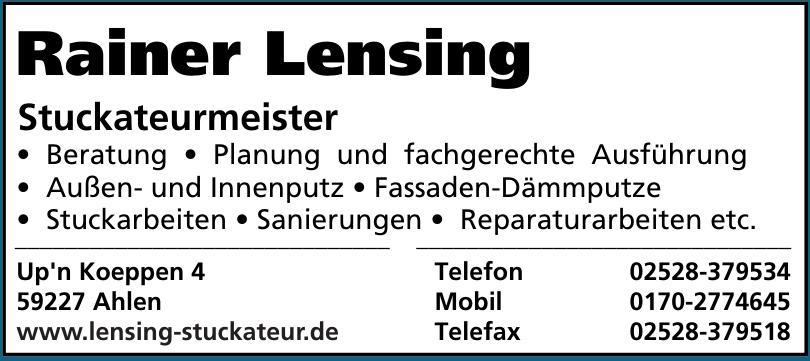 Rainer Lensing Stuckateurmeister