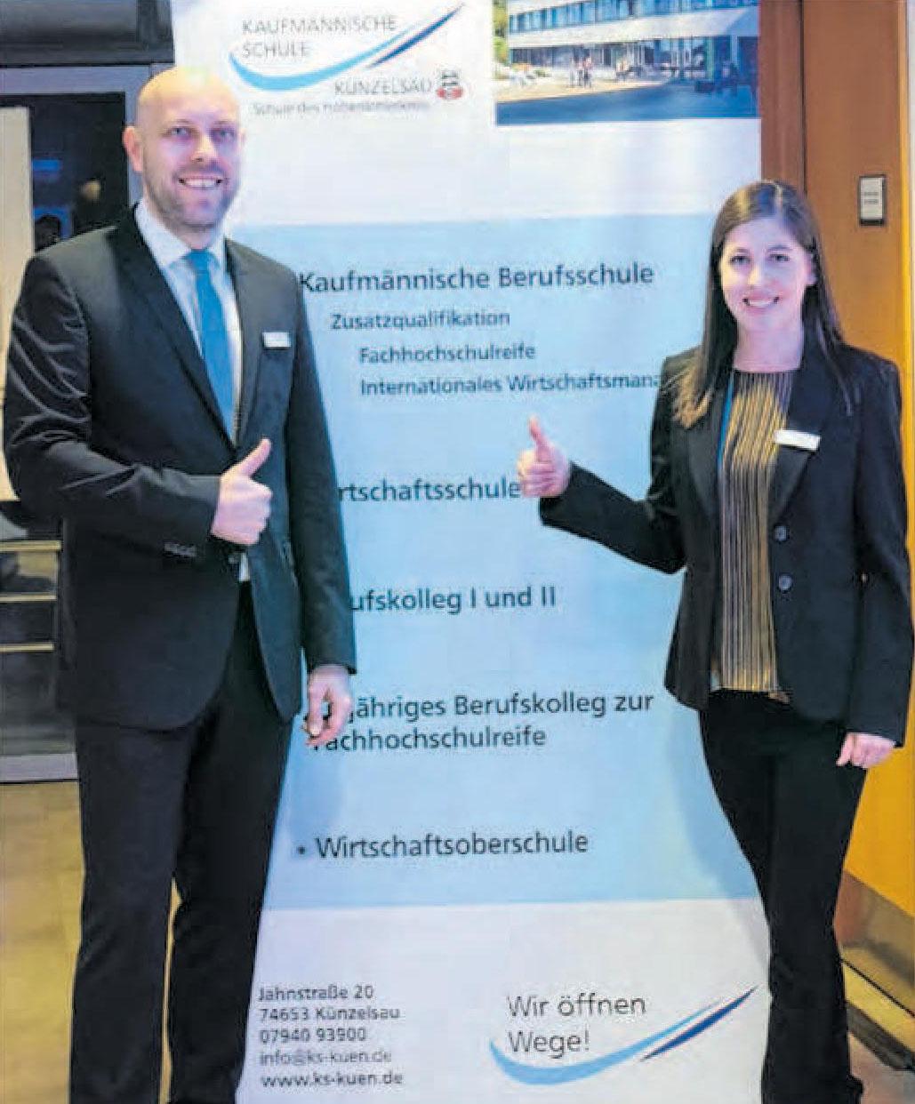 Patrick Wagner und Claudia Bader, das Organisationsteam des Berufsinfotages, freuen sich auf viele junge Besucher.