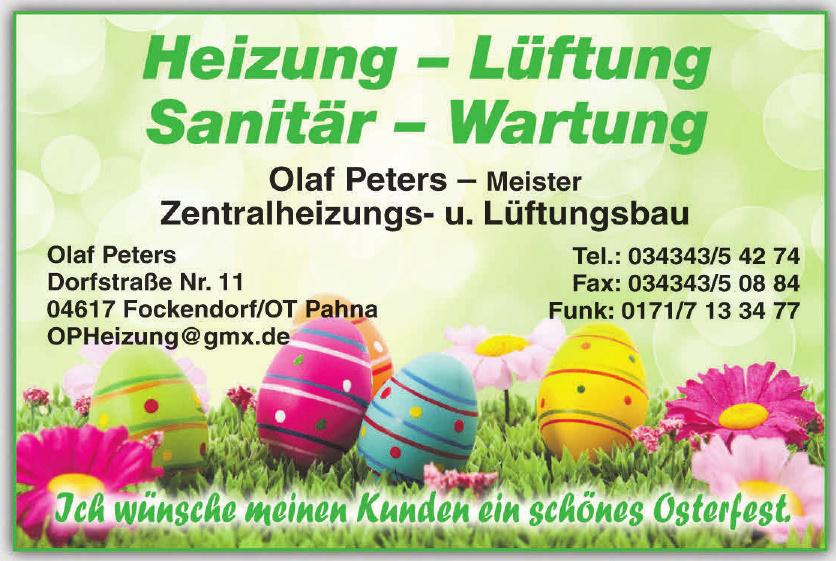 Heizung - Lüftung Sanitär - Wartung Olaf Peters