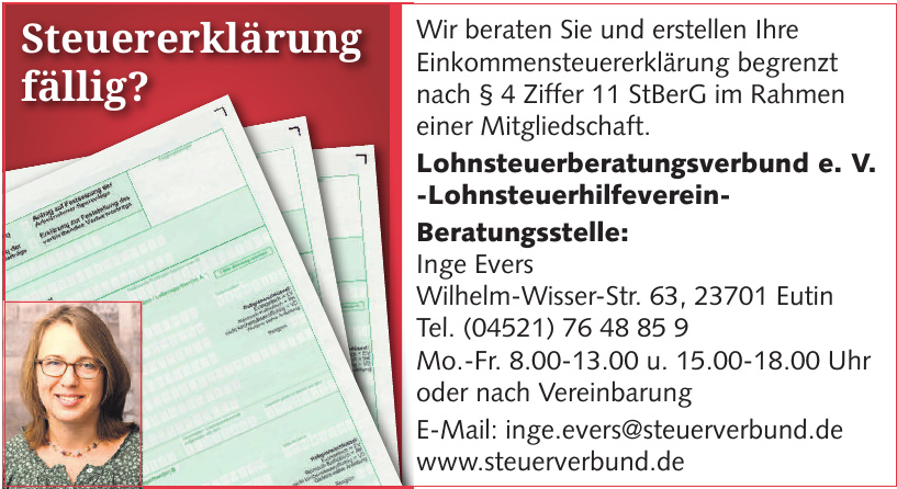 Lohnsteuerberatungsverbund e. V. -Lohnsteuerhilfeverein- Beratungsstelle: Inge Evers