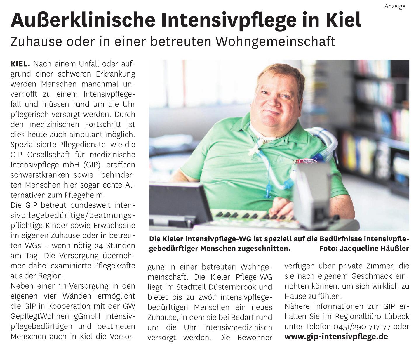 GIP Gesellschaft für medizinische Intensivpflege mbH - Kieler Pflege-WG