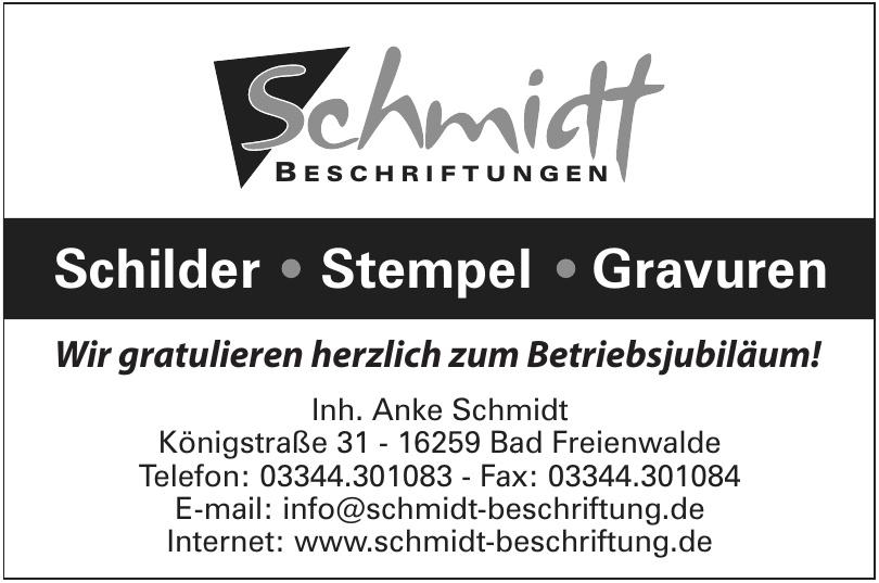 Schmidt Beschriftung