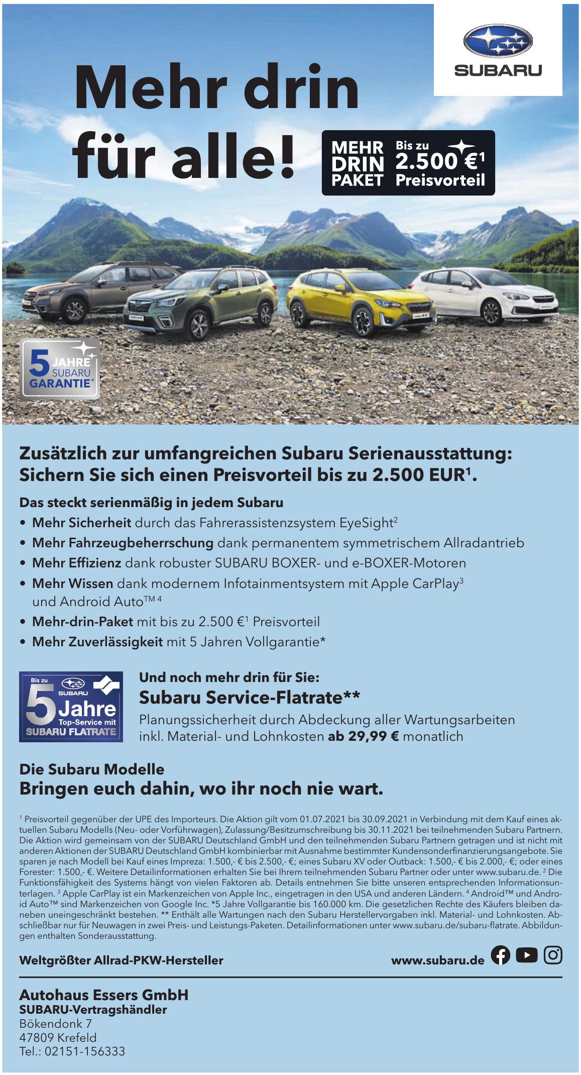 Autohaus Essers GmbH SUBARU-Vertragshändler