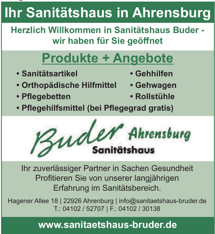Buder Ahrensburg Sanitätshaus