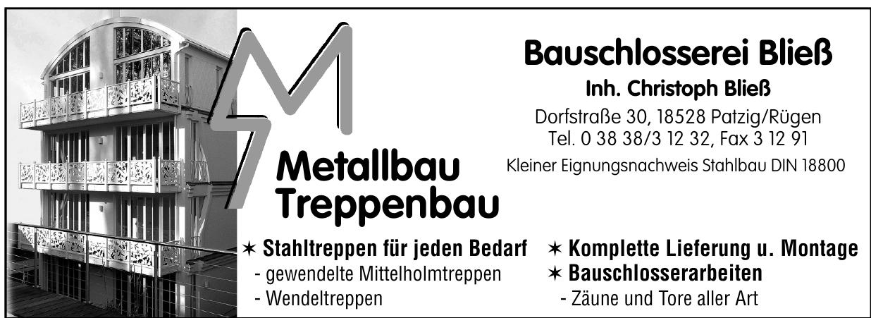 Metallbau Treppenbau Bauschlosserei Bließ