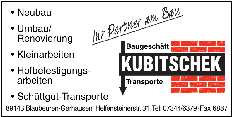 Baugeschäft Transporte Kubitschek