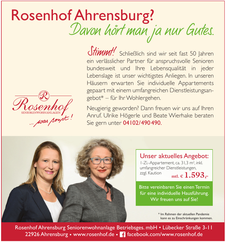 Rosenhof Ahrensburg Seniorenwohnanlage Betriebsges. mbH