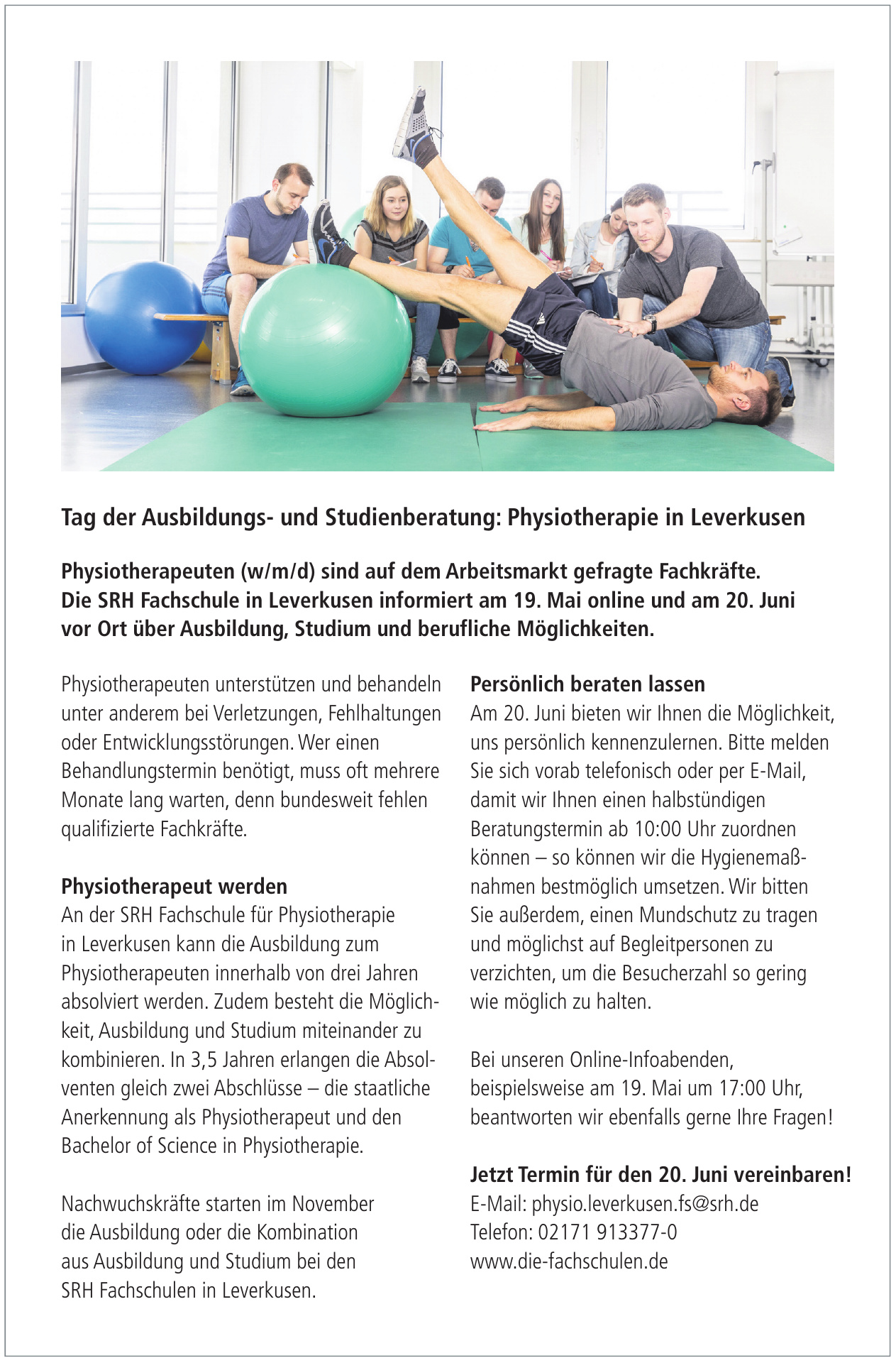 Die SRH Fachschule in Leverkusen - Physiotherapie in Leverkusen