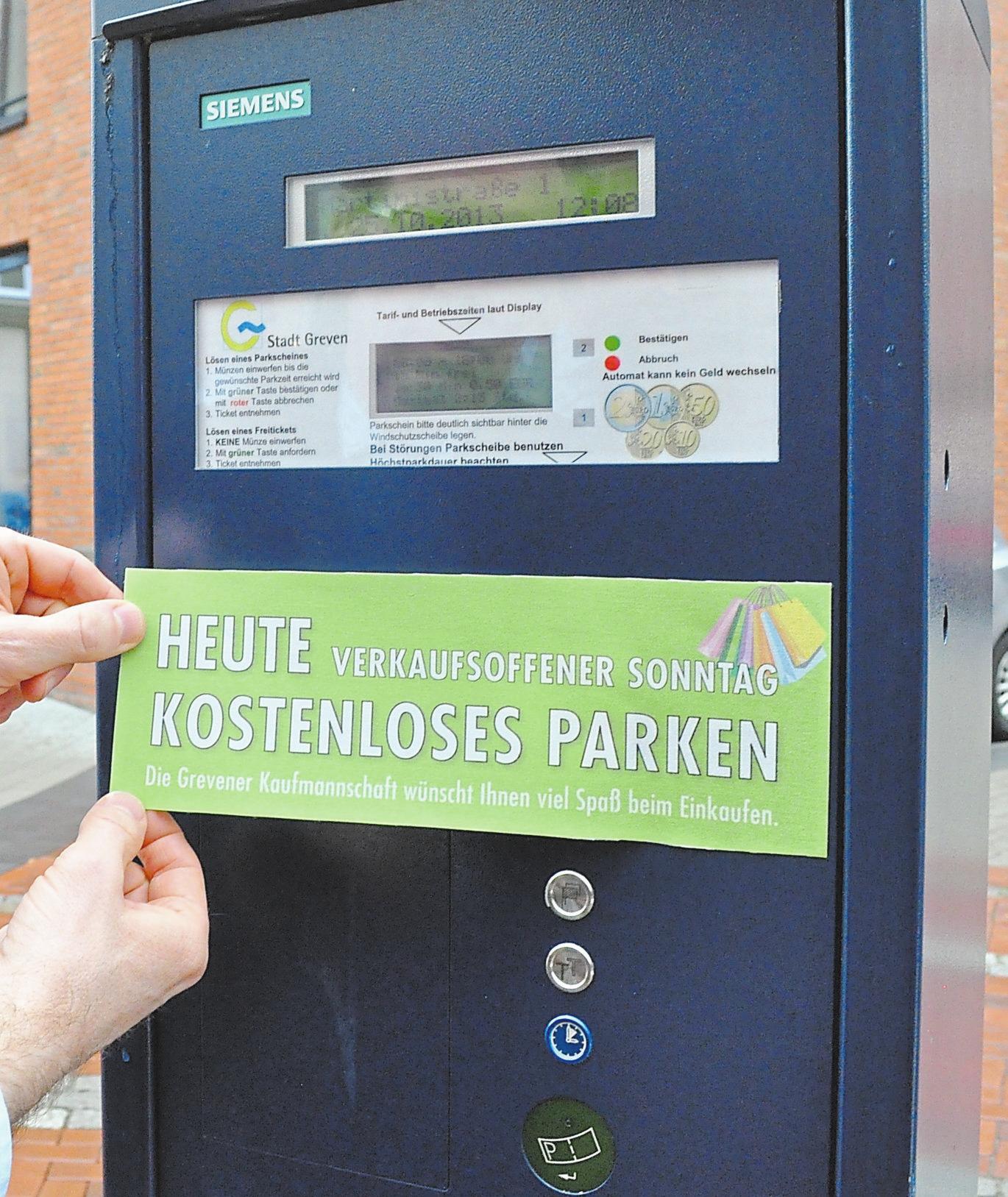 Die Werbegemeinschaft weist auf das kostenlose Parken hin.