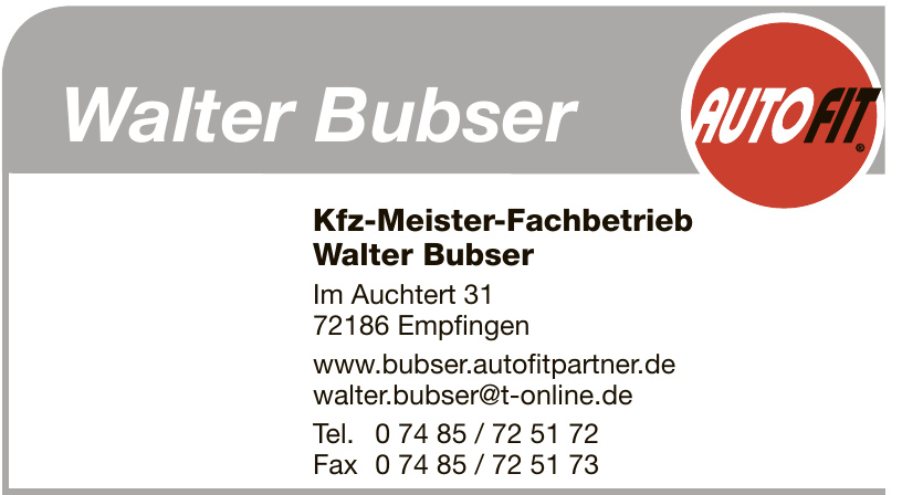 Kfz-Meister-Fachbetrieb Walter Bubser