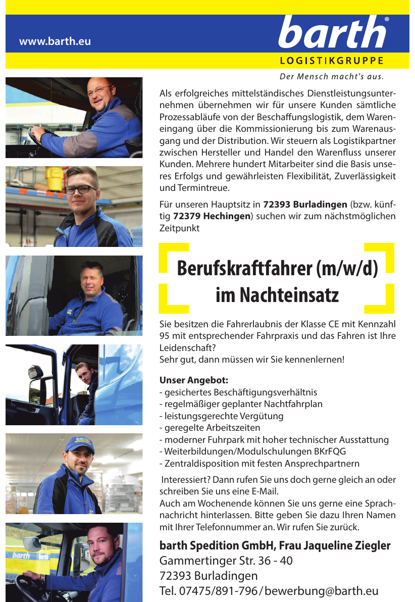 barth Spedition GmbH, Frau Jaqueline Ziegler