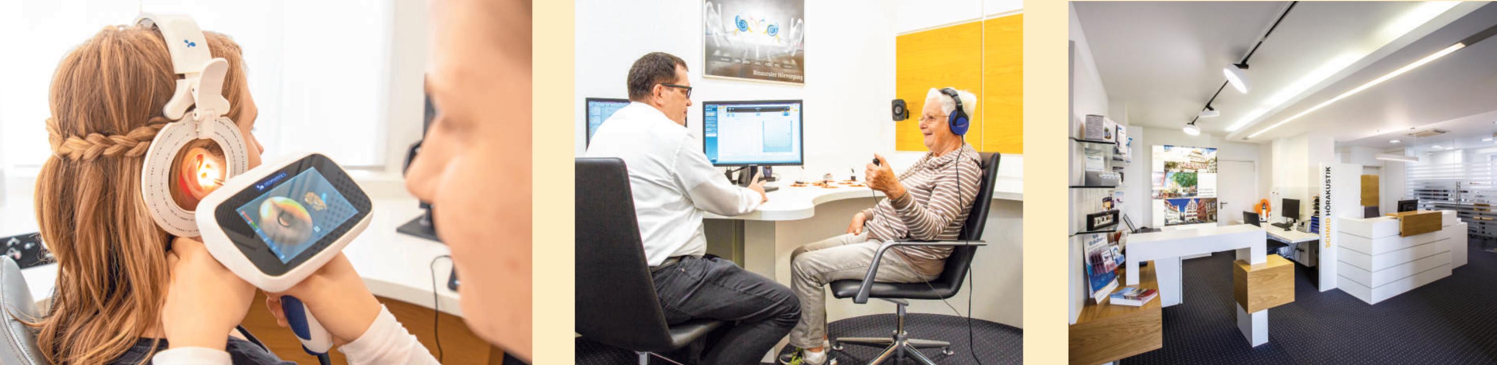 Das Ohr des Kunden wird mit dem 3D-Ohren-Scanner geprüft. Ein Hörtest wird immer zunächst beim Kunden gemacht, um zu sehen, welche Probleme es gibt. Das Ambiente von Schmid Hörakustik schafft bei den Kunden Vertrauen.