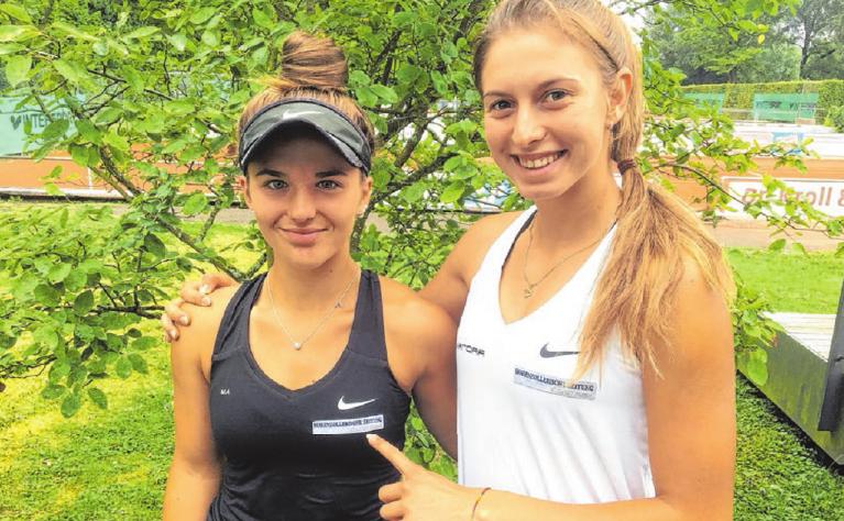 Die 14-jährige Mia Mack (links) und die 17-jährige Alexandra Vecic, beide aus der Jugend des TC Hechingen, starten bei den boso Ladies Open. Unterstützt werden die beiden großen Talente von der Hohenzollerischen Zeitung. Privatfoto