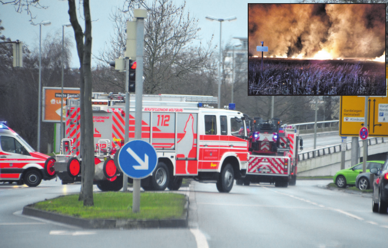 Die Feuerwehr in Wolfsburg war im vergangenen Jahr wieder stark gefordert – unter anderem durch mehrere Stoppelfeldbrände (kl. Fotoarchiv: Weichert/Feuerwehr Vorsfelde). Gr. Foto: Archiv
