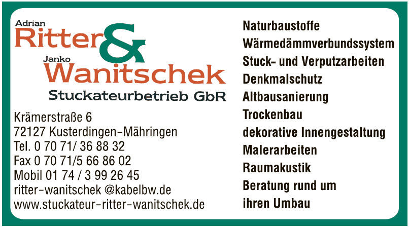 Adrian Ritter & Janko Wanitschek Stuckateurbetrieb GbR