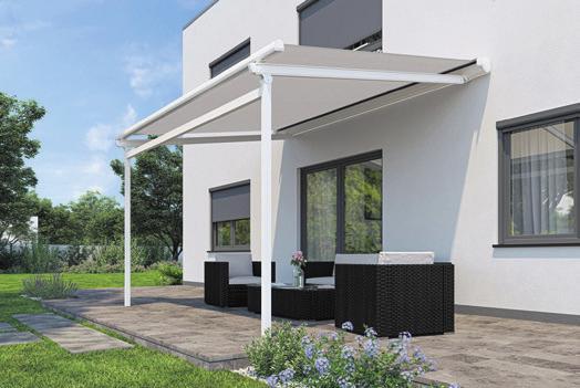 """Ein """"Terrassendach light"""" mit Markisenbespannung verbindet Ästhetik mit hoher Stabilität. Foto © djd/Lewens-Markisen"""