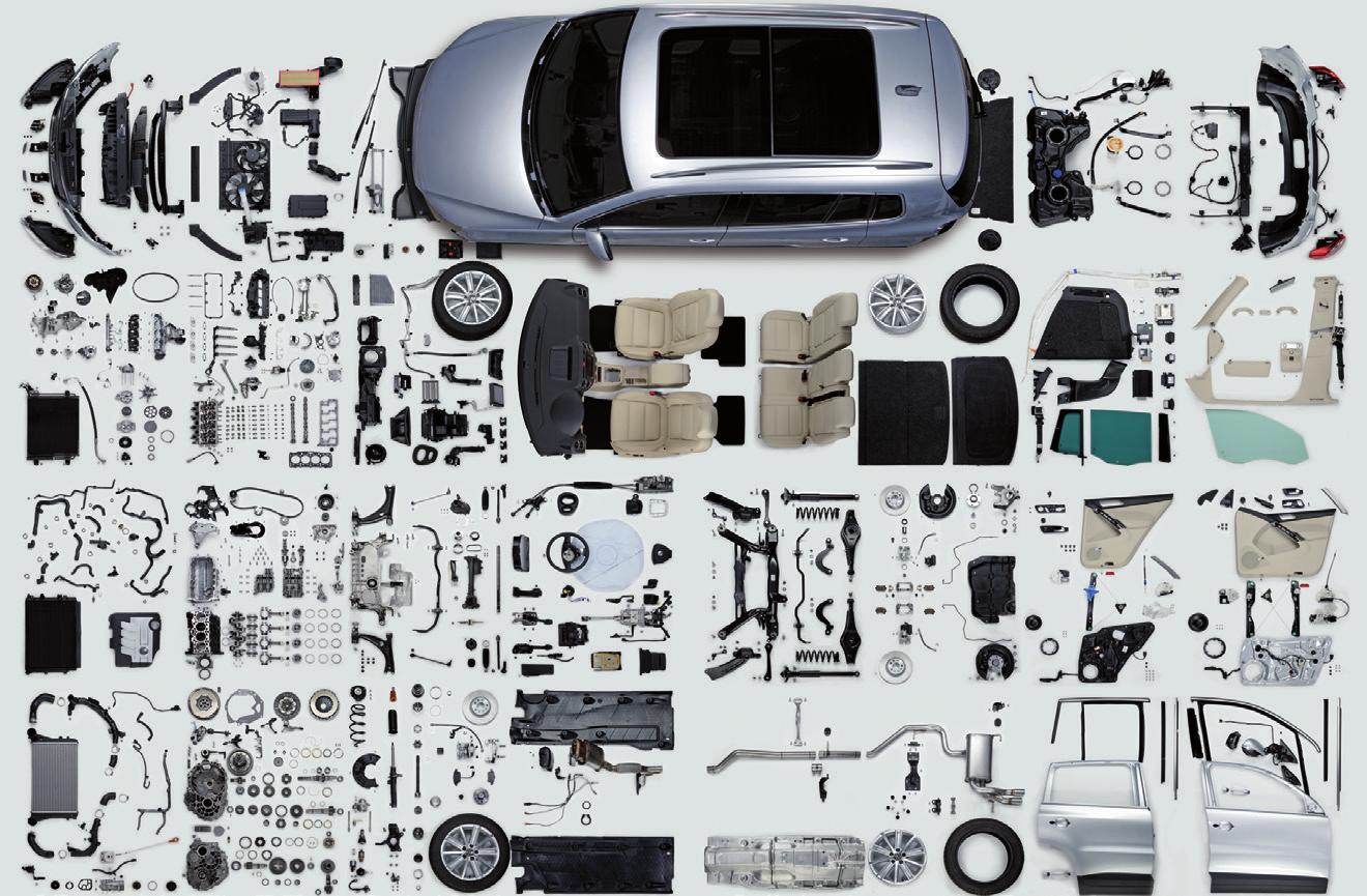 So sieht ein Tiguan aus, wenn man ihn zerlegt – in 1300 Einzelteile. Insgesamt besteht der SUV aus etwa 10.000 Originalteilen – alle sind zu beziehen über das von Matthias Wiesemann geleitete Vertriebszentrum Nord Fotos: VW