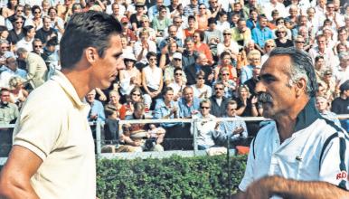 Michael Stich und Mansour Bahrami bei der Senioren-WM 2003. DTV Hannover Archv