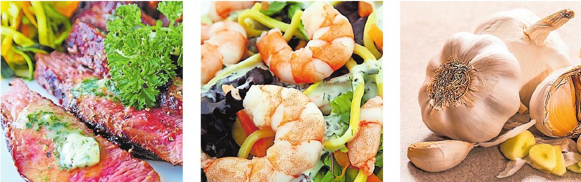 Auf Herkunft achten: Fleisch und Meeresfrüchte. Knoblauch, Rote Bete, Beerenfrüchte und Krillölkapseln werden sogar empfohlen. FOTOS: RITAE/SHUTTERBUG75/STEVE BUISSINNE/CONGERDESIGN/SILVIARITA/PIXABAY/FREI