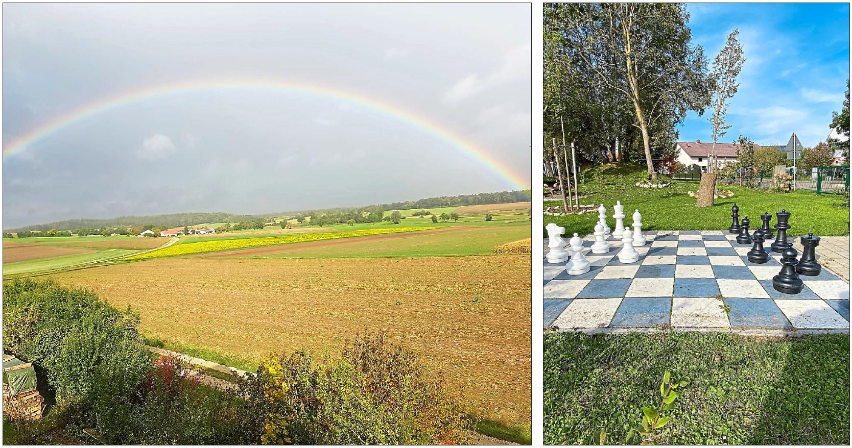 Ein Regenbogen spannt sich über den Ortsteil Ergertshausen. Attraktiv: der Mehrgenerationenspielplatz. Fotos: Gemeinde Rohrenfels