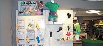 Avelia ist die von Stefan Müller selbst entwickelte Maßeinlage. In seinem Geschäft bietet er auch Orthesen und Bandagen von namhaften Herstellern an.