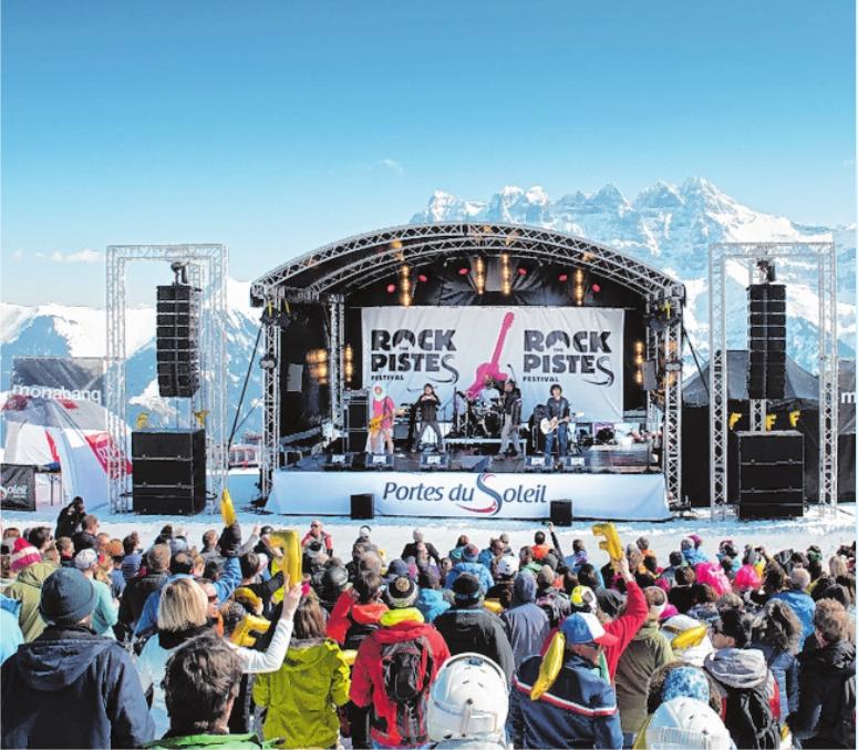"""Majestätische Bergkulisse beim beliebten Festival """"Rock The Pistes"""".FOTO: JB BIEUVILLE"""