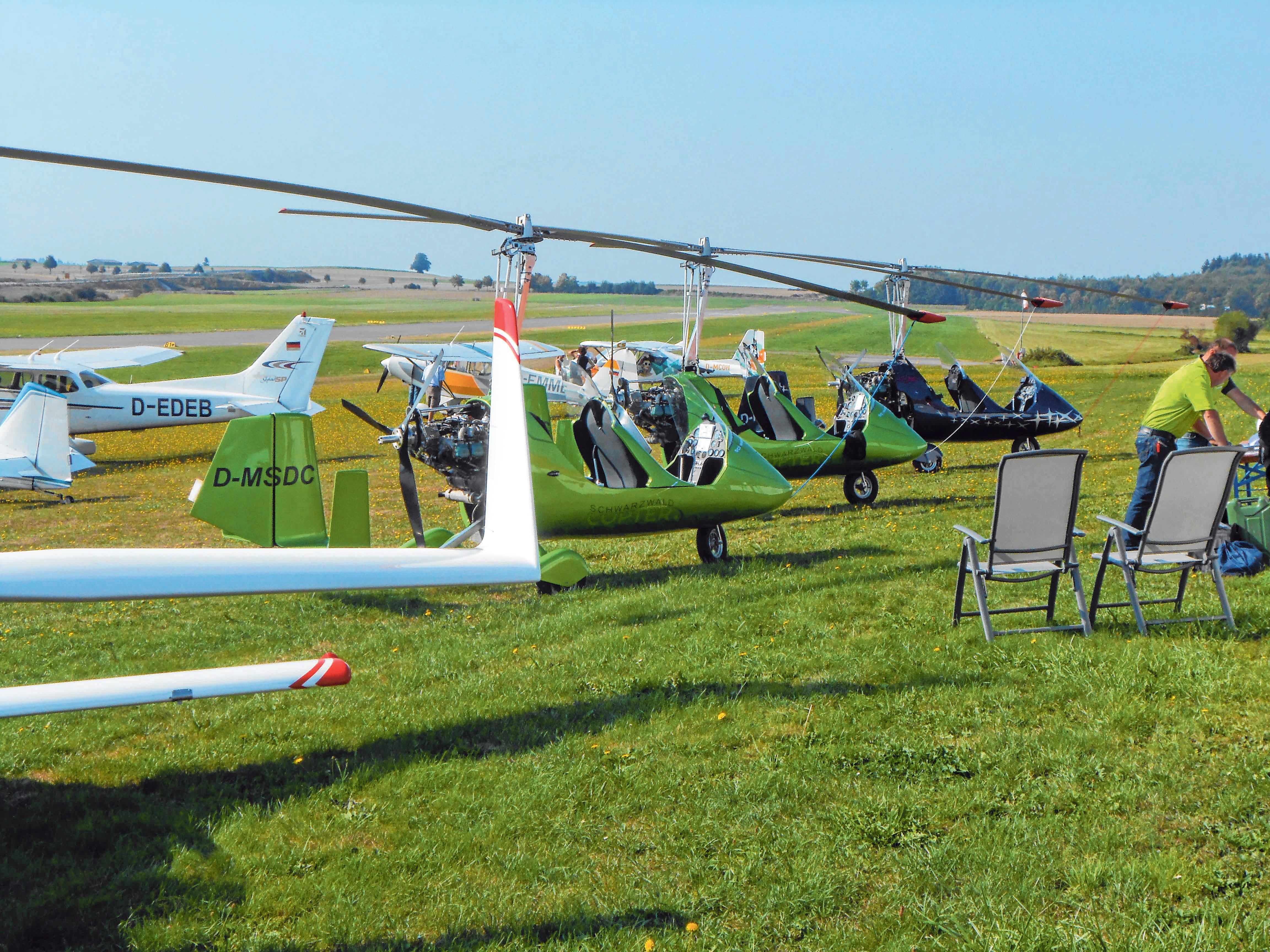 Thomas Moor zeigt Flüge mit einem Gyrokopter.