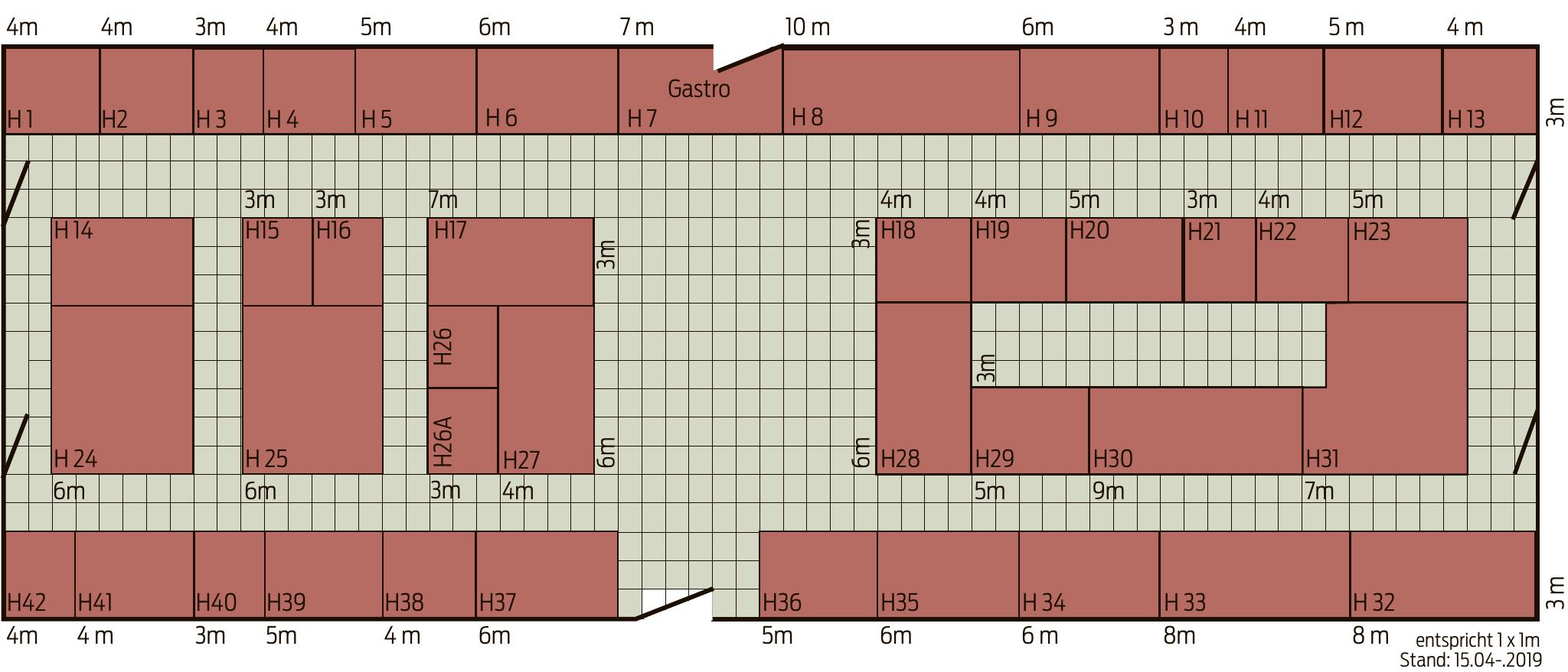 Belegungsplan Messehalle 20 x 65 m