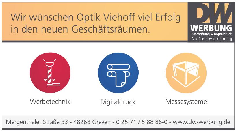 DW Werbung Beschriftung + Digitaldruck Außenwerbung