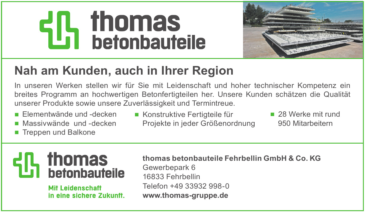 thomas betonbauteile Fehrbellin GmbH & Co. KG