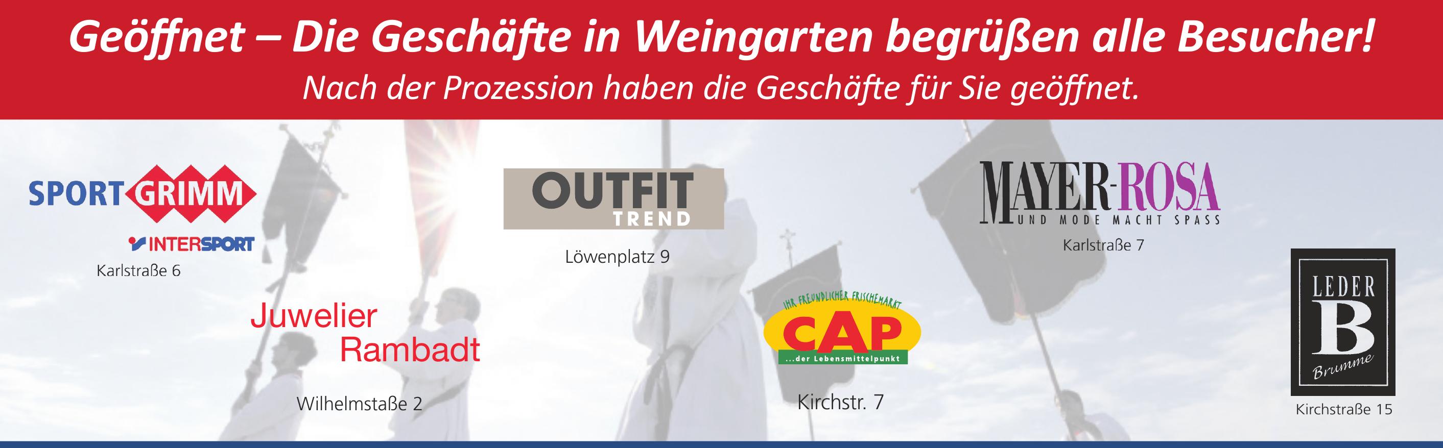 Geöffnet – Die Geschäfte in Weingarten begrüßen alle Besucher!