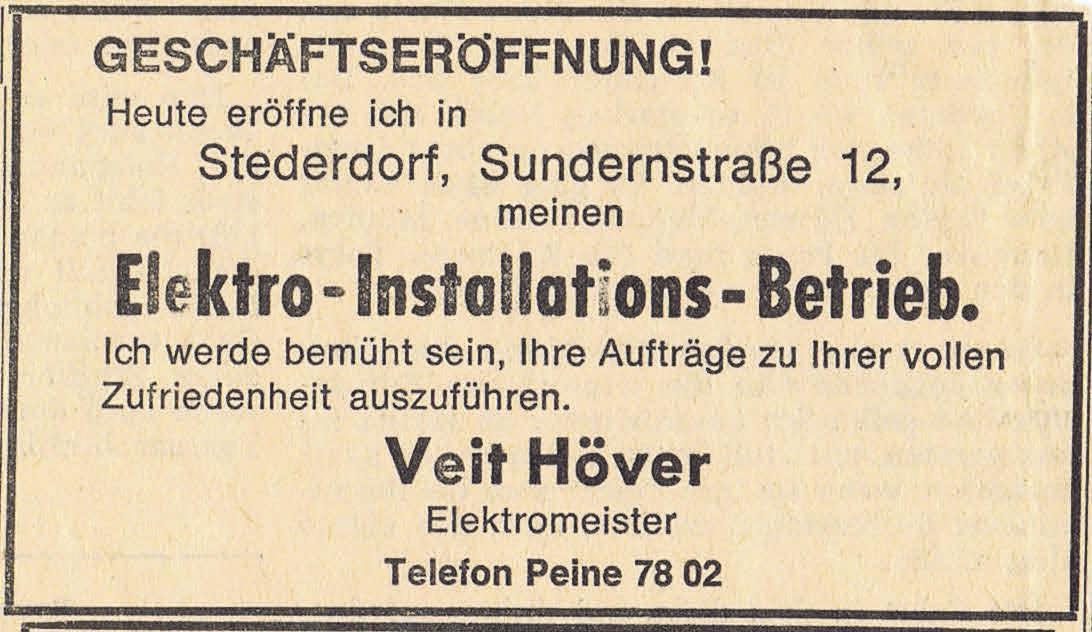 Die Anzeige zur Geschäftseröffnung vom 6. Januar 1970. Foto: privat