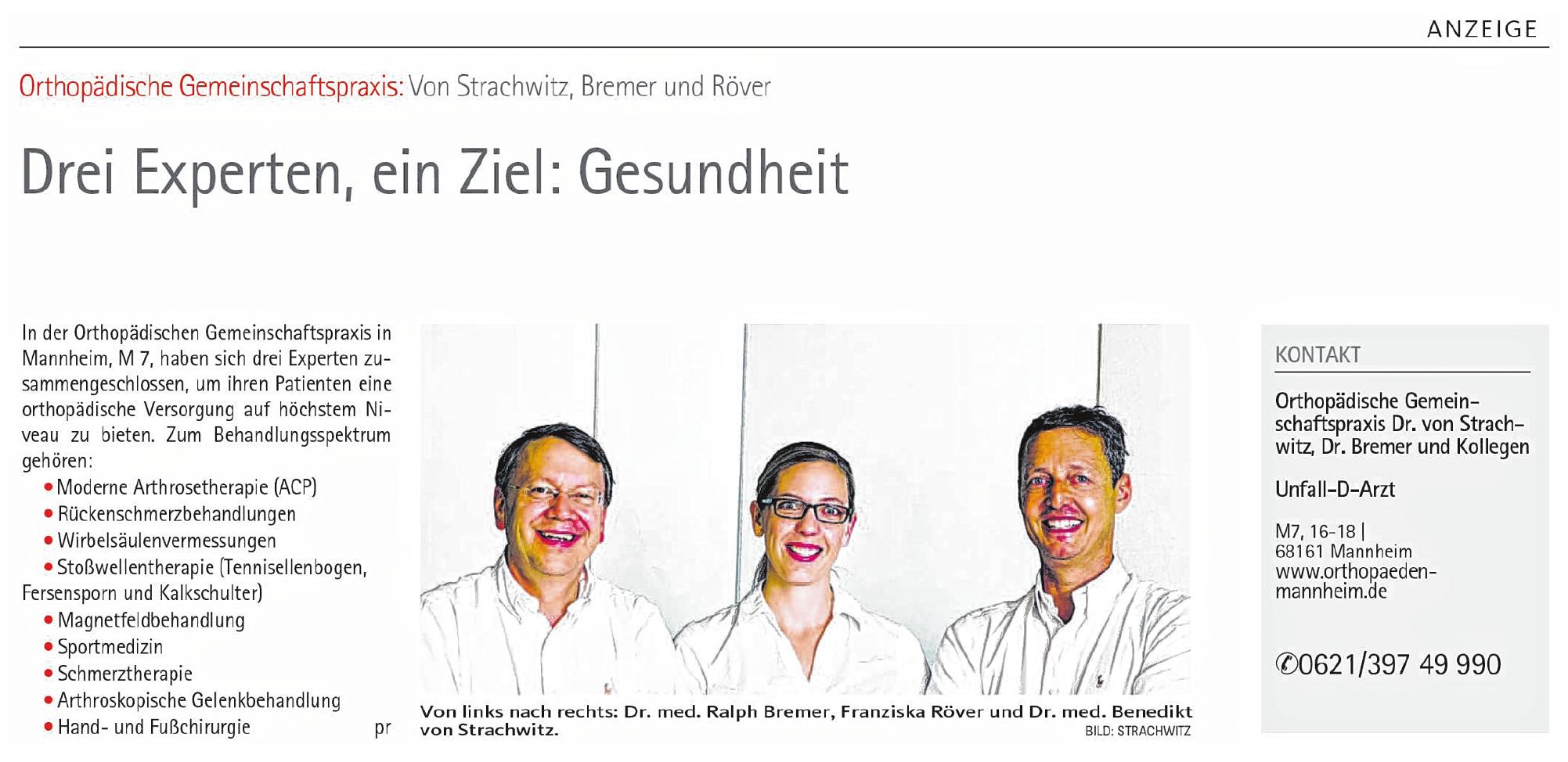 Orthopädische Gemeinschaftspraxis Dr. med. Benedikt Graf von Strachwitz Dr. med. Ralph Bremer & Kollegen