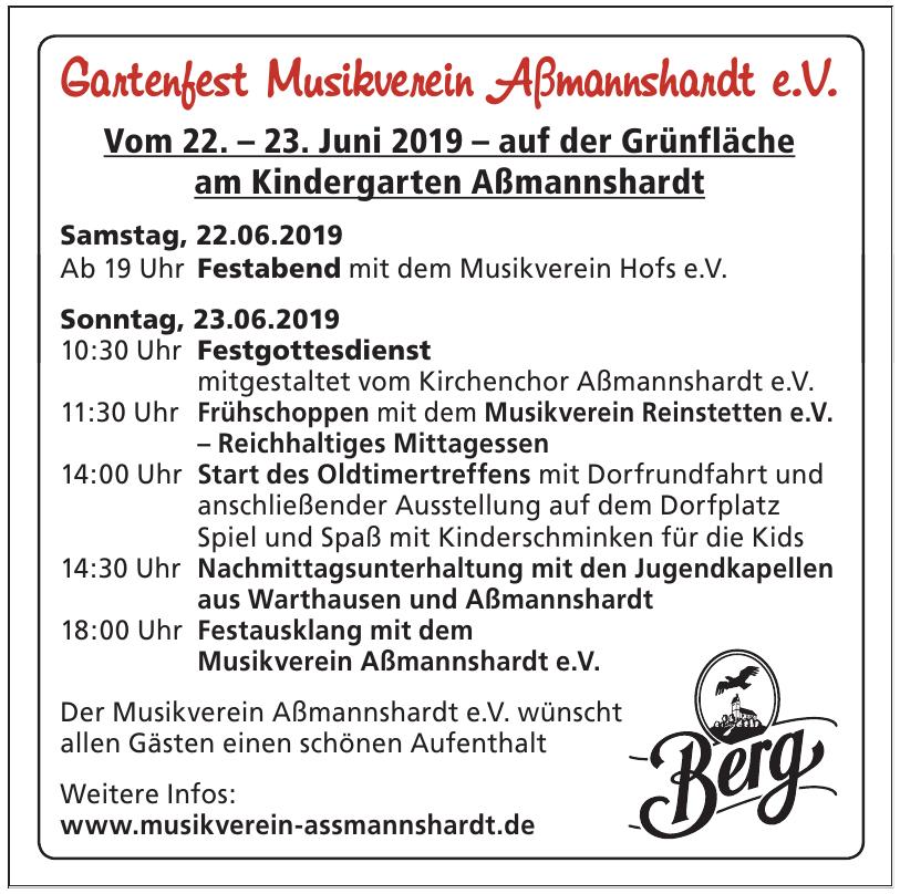 Gartenfest Musikverein Aßmannshardt e.V.