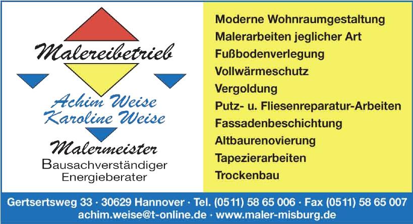Malerbetrieb Weise - Inhaber: Malermeister Achim Weise
