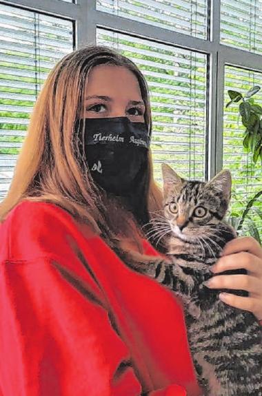 Katze Maunzi ist gesund und darf das Tierheim verlassen. Die Maske trägt Tierpflegerin Romina Sestito nicht wegen des kleinen Stubentigers, sondern bei der Begegnung mit Menschen. Foto: TierSV