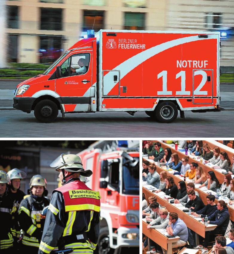 Facetten der Feuerwehr: Ausbildung oder Studium, Notfallsanitäter oder technischer Dienst ISTOCK/VANDERWOLF-IMAGES, OLLO; PICTURE ALLIANCE/FELIX KÄSTLE