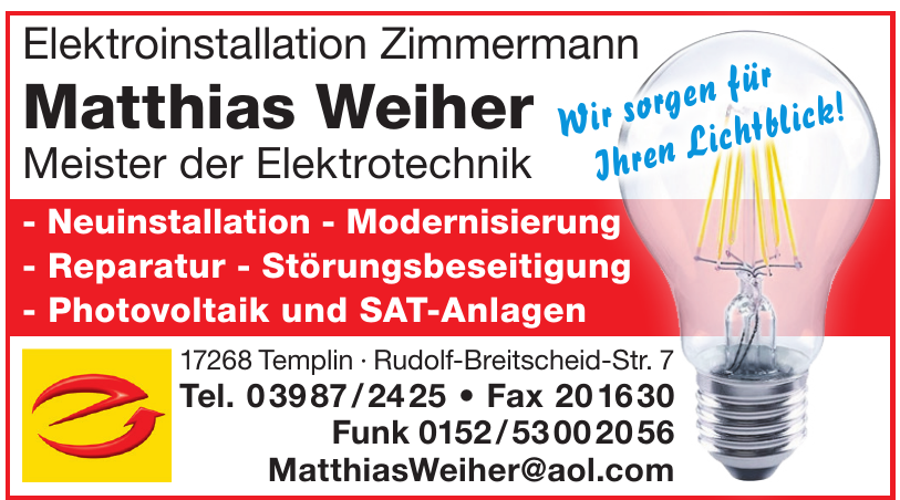 Elektroinstallation Zimmermann - Matthias Weiher Meister der Elektrotechnik