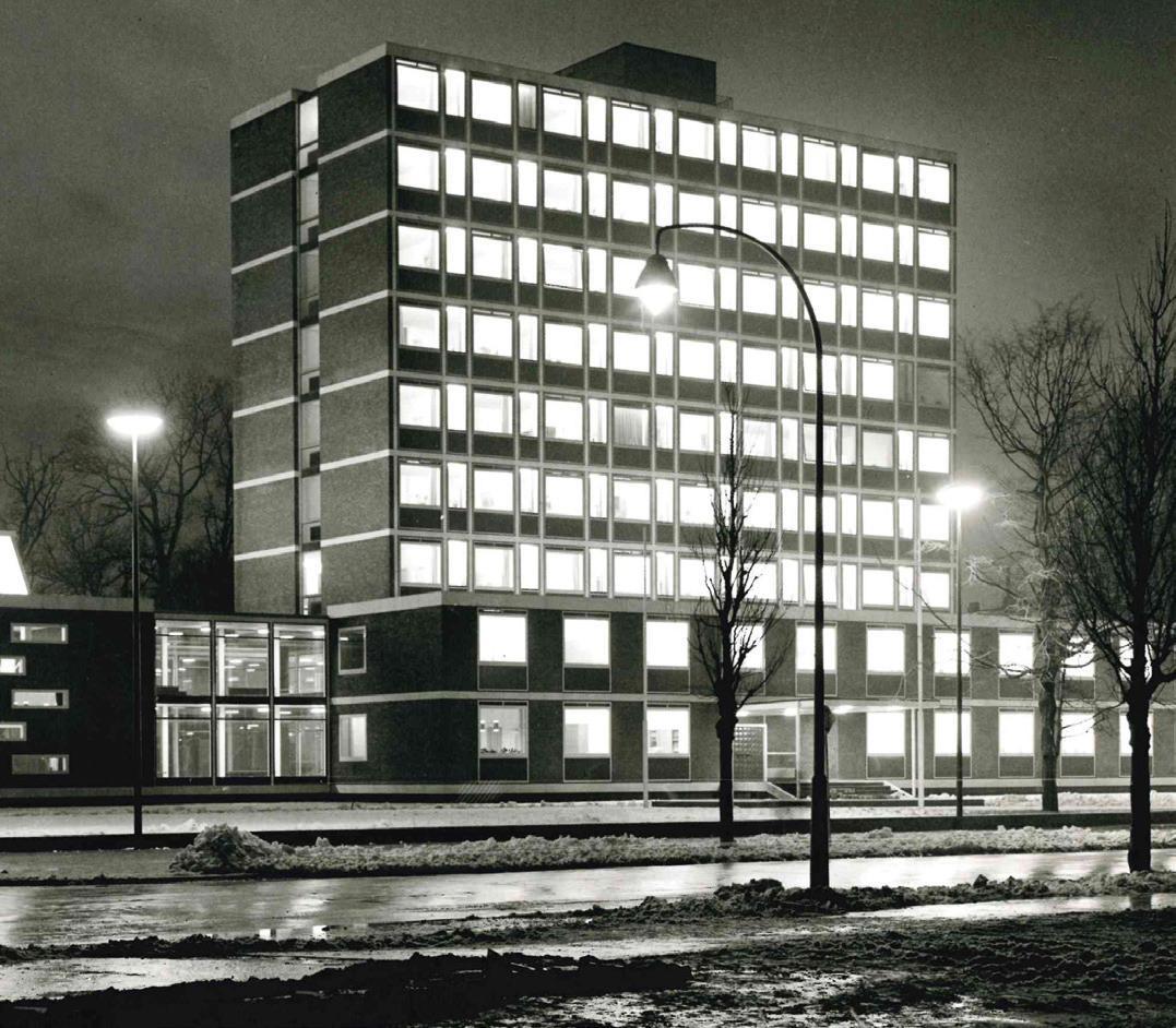 Das neue Peiner Rathaus bei Nacht. Foto: Trexler/Kreisarchiv Peine