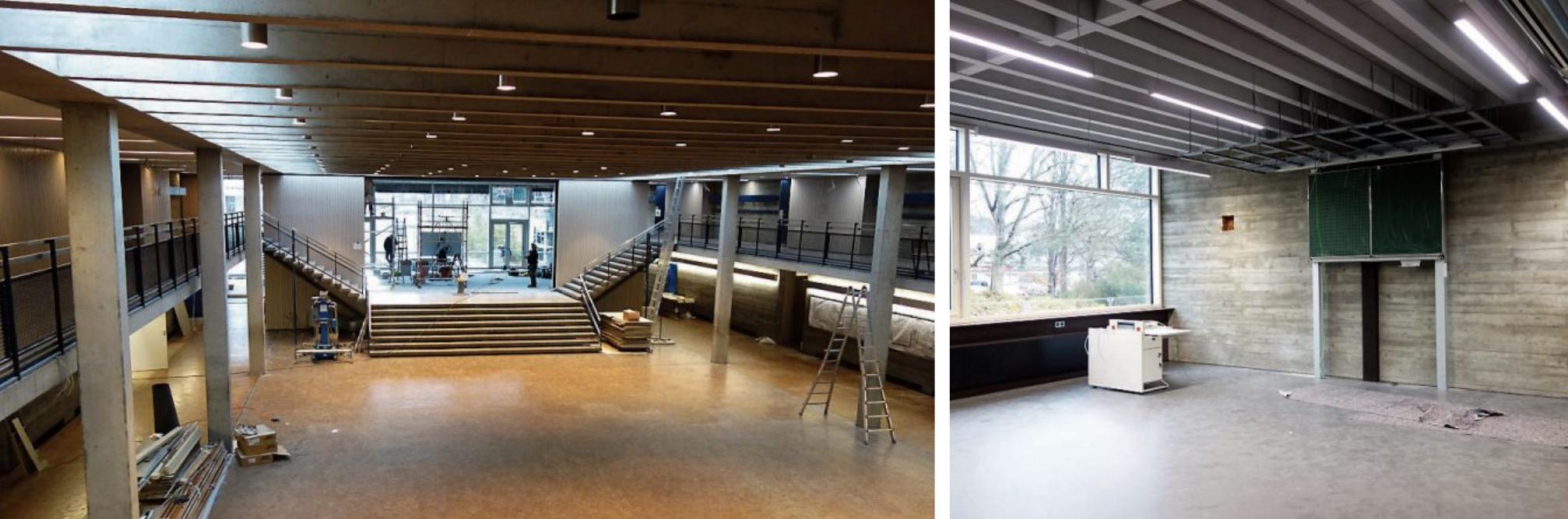 Die Aula (links) bildet das Herzstück der sanierten Friedrich-List-Schule. Alle Klassenräume (rechts) sind nahezu quadratisch geschnitten