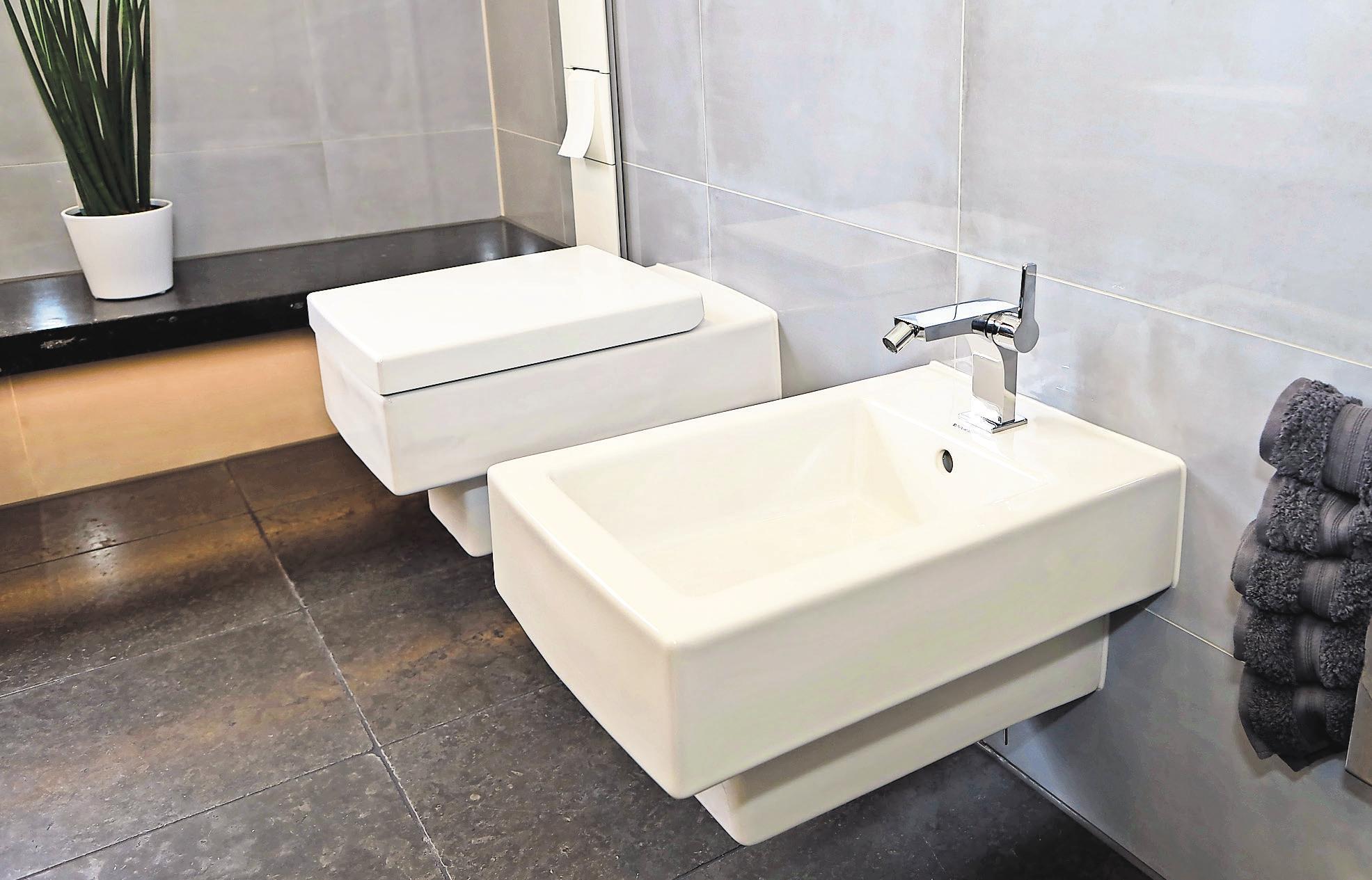 Die harmonische Kombination eines hochmodernen WCs und Bidets.