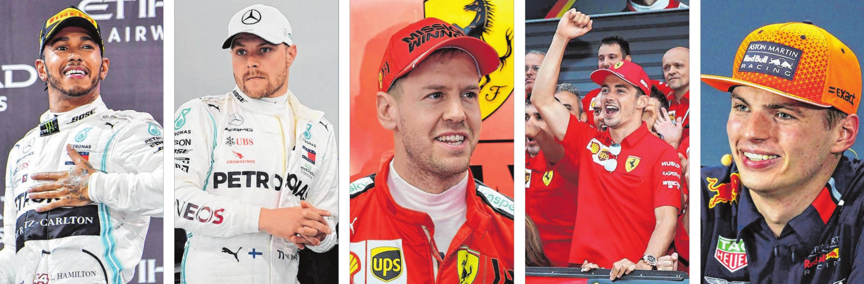 Der Gejagte: Lewis Hamilton. Die Herausforderer: Mercedes-Pilot Valtteri Bottas, die beiden Ferrari-Fahrer Sebastian Vettel und Charles Leclerc sowie Red-Bull-Pilot Max Verstappen. Fotos (5): dpa